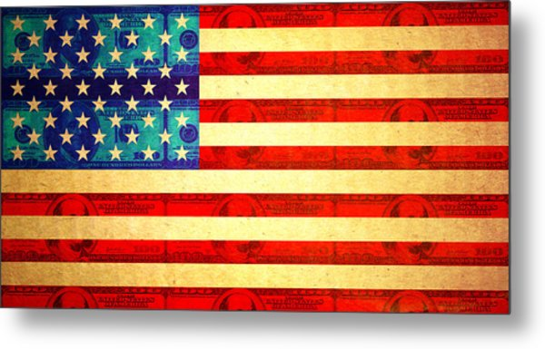 American Money Flag Metal Print