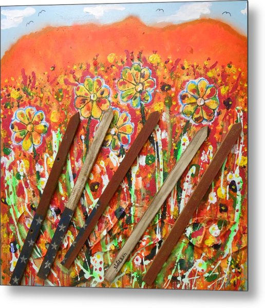 American Mornin' Flower Garden Metal Print