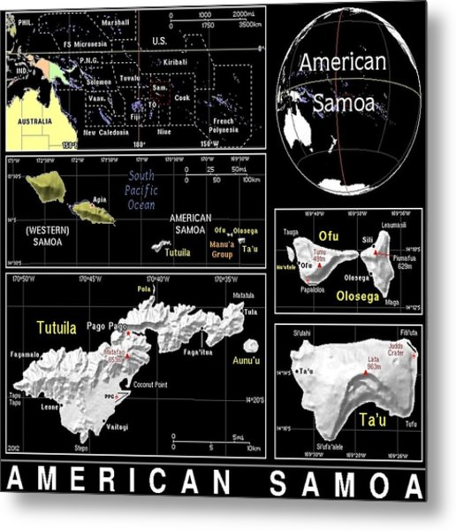 American Samoa Exotic Map Metal Print
