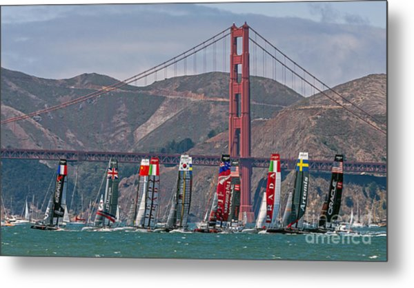Metal Print featuring the photograph Americas Cup Catamarans At The Golden Gate by Kate Brown
