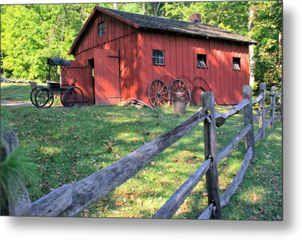 Amish Barn Along A Fenceline Metal Print