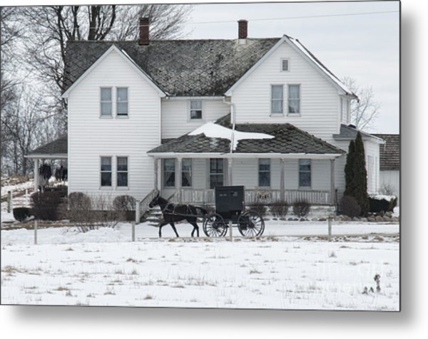Amish Buggy And Amish House Metal Print
