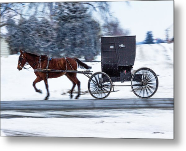 Amish Buggy In Winter Metal Print