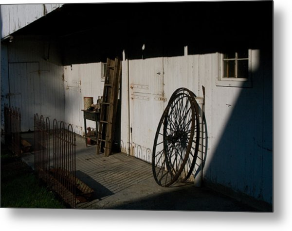 Amish Buggy Wheel Metal Print
