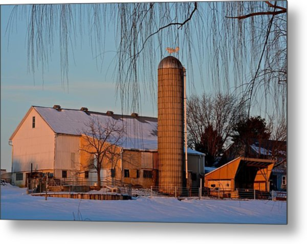 Amish Farm At Turquoise Dusk Metal Print