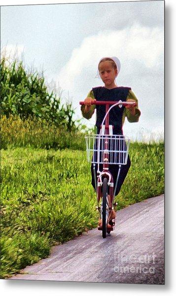 Amish Girl Scooting In Lancaster Pennsylvania Usa Metal Print