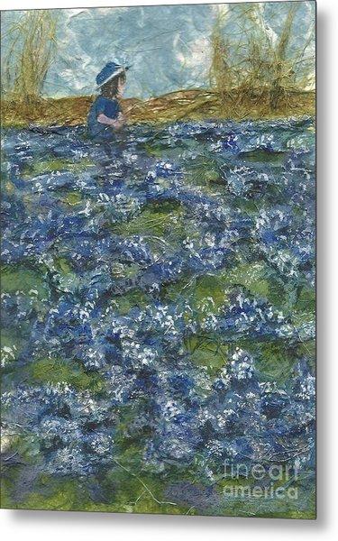 Among The Blue Bonnets Metal Print by Lynn Babineau