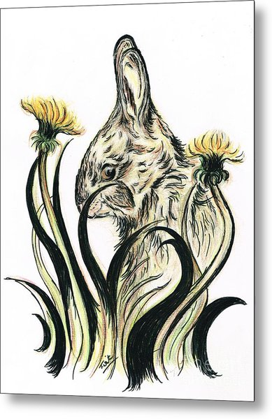 Rabbit- Amongst The Dandelions Metal Print
