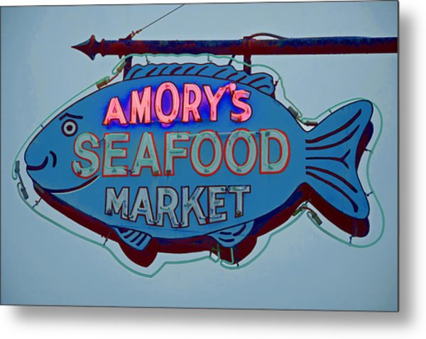 Amory Seafood Sign Metal Print