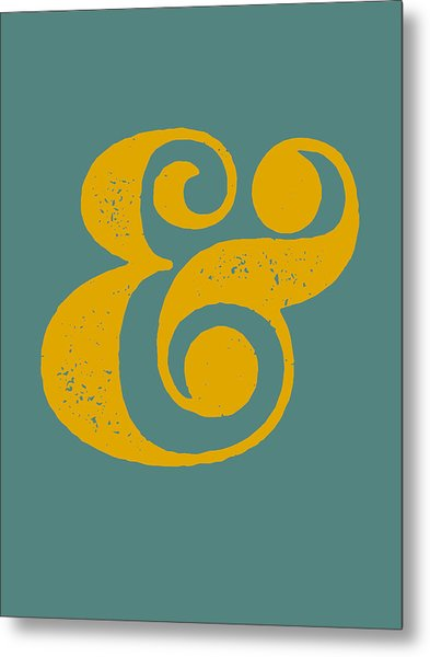 Ampersand Poster Blue And Yellow Metal Print