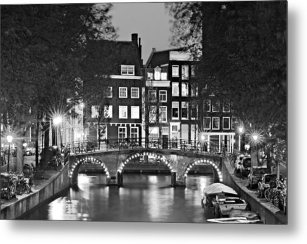 Metal Print featuring the photograph Amsterdam Bridge At Night / Amsterdam by Barry O Carroll