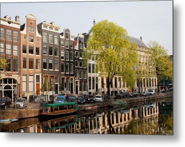 Amsterdam Houses Along The Singel Canal Metal Print