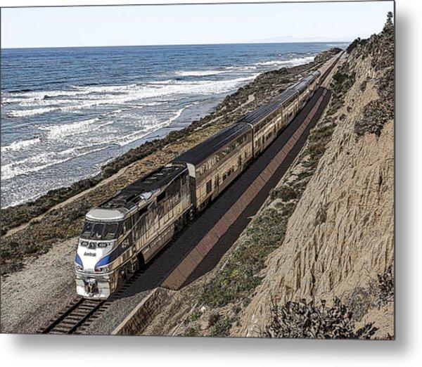 Amtrak By The Ocean Metal Print