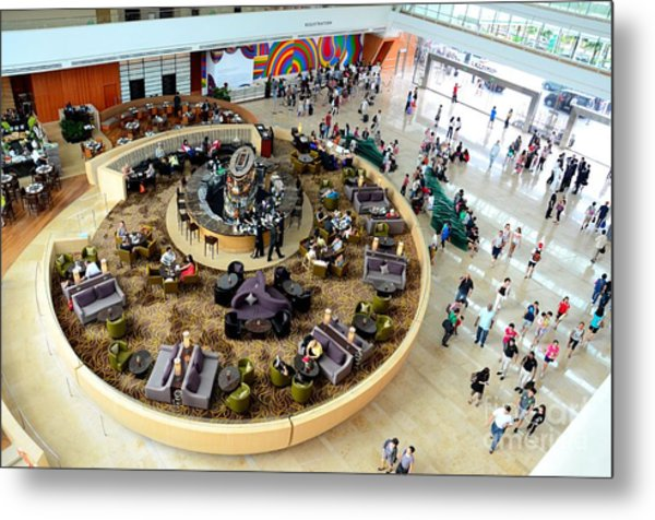 An Aerial View Of The Marina Bay Sands Hotel Lobby Singapore Metal Print