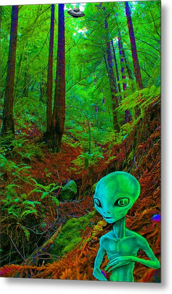 An Alien In A Cosmic Forest Of Time Metal Print
