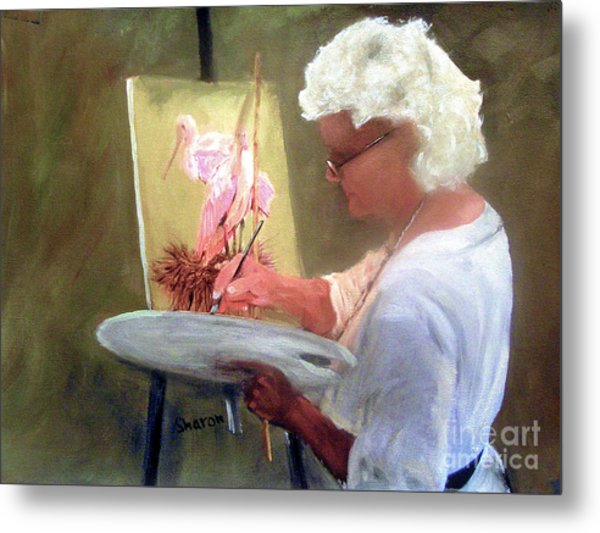 An Artist At Work Metal Print by Sharon Burger