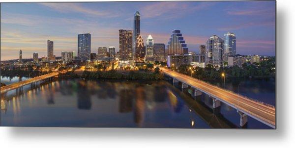 A Panorama Of The Austin Skyline Over Lady Bird Lake Metal Print by Rob Greebon