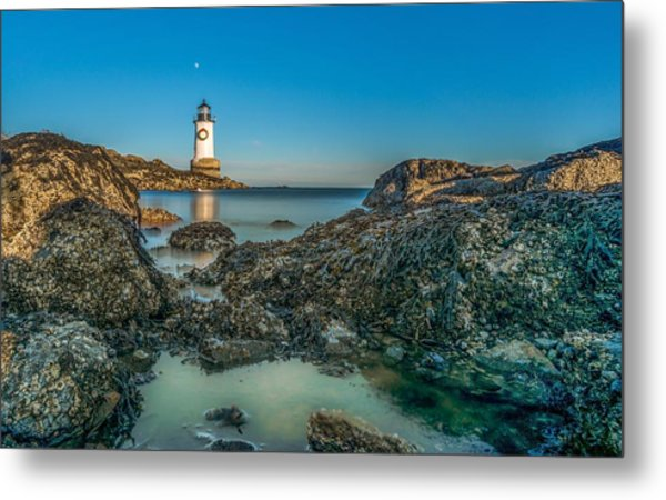 An Early Moon Over Fort Pickering Light Salem Ma Metal Print