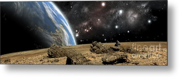 An Earth-like Planet Rises Over A Rocky Metal Print