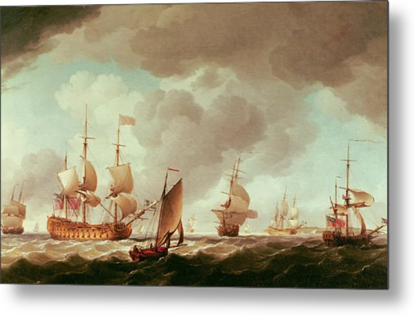 An English Vice-admiral Of The Red And His Squadron At Sea, C.1750-59 Oil On Canvas Metal Print
