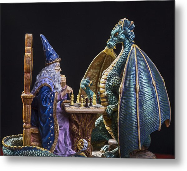 An Epic Chess Match Metal Print