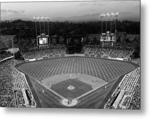 An Evening Game At Dodger Stadium Metal Print