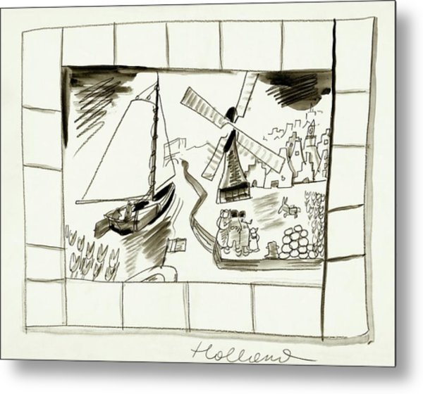 An Illustrated Depiction Of Holland Metal Print by Ludwig Bemelmans