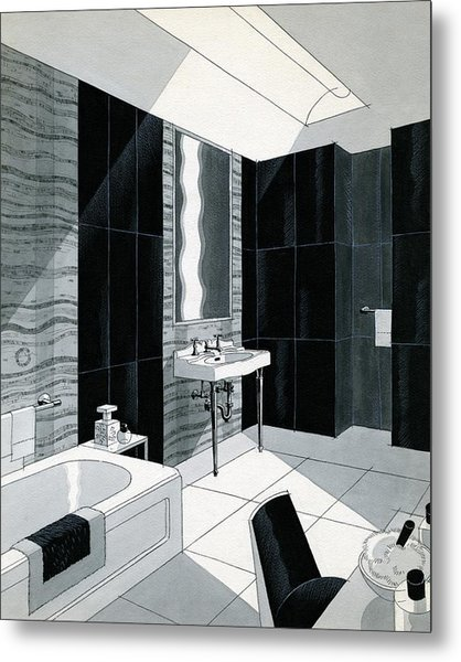 An Illustration Of A Bathroom Metal Print