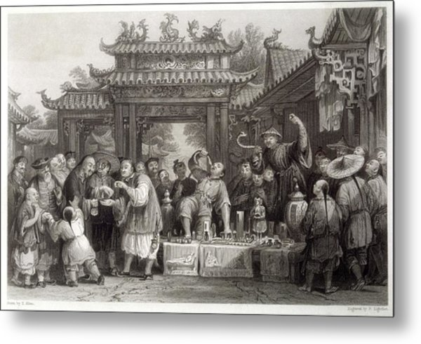 An Itinerant Chinese Doctor At Metal Print by Mary Evans Picture Library