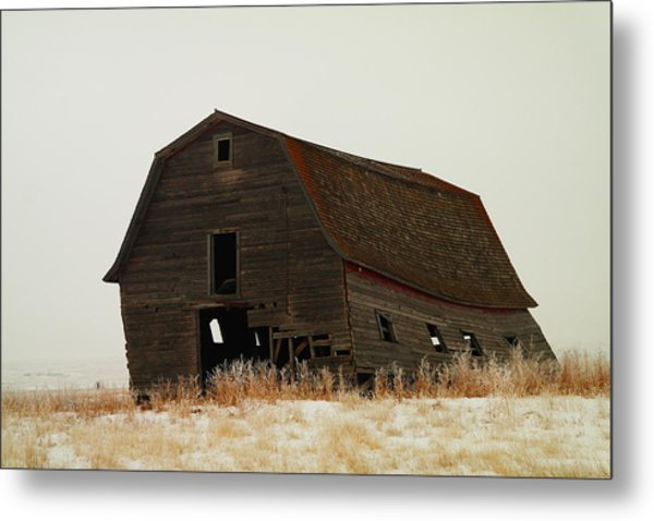 An Old Leaning Barn In North Dakota Metal Print