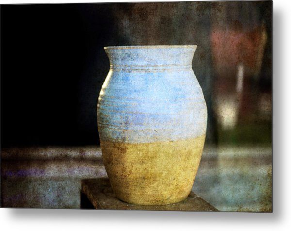 An Old Pot In Vintage Background Metal Print