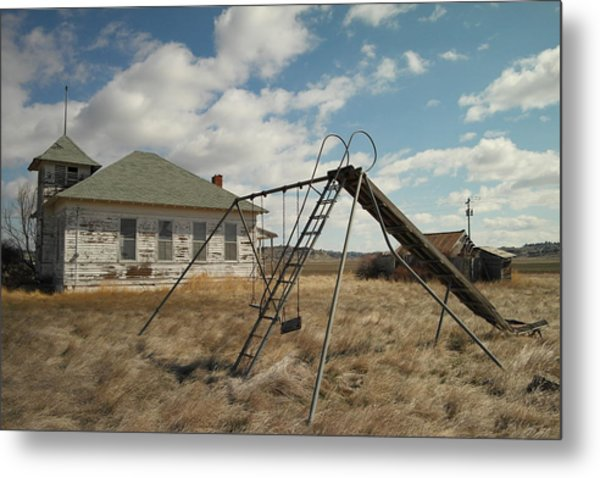 An Old School Near Miles City Montana Metal Print