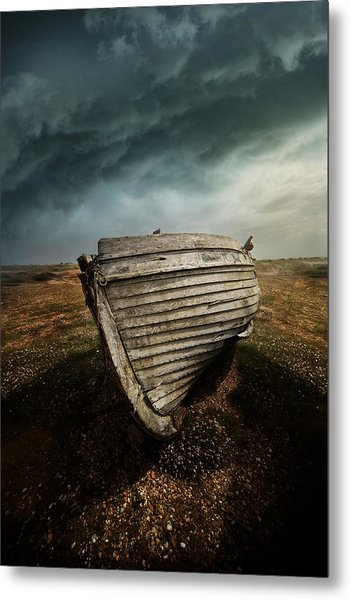 An Old Wreck On The Field. Dramatic Sky In The Background Metal Print