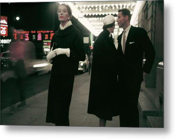 An Outtake Of Models Outside Of A Theatre Metal Print