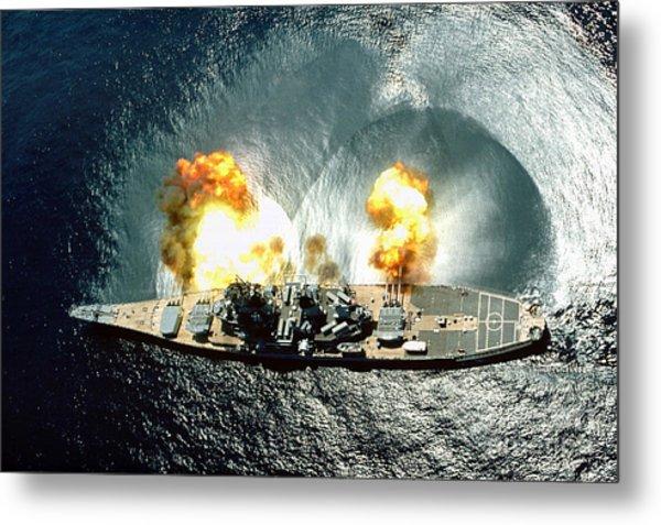 An Overhead View Of The Battleship Uss Iowa Bb61 Firing All 15 Of Its Guns Metal Print