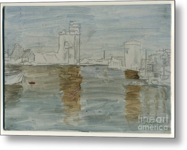 An Unfinished Harbor With Boats And Towers Metal Print