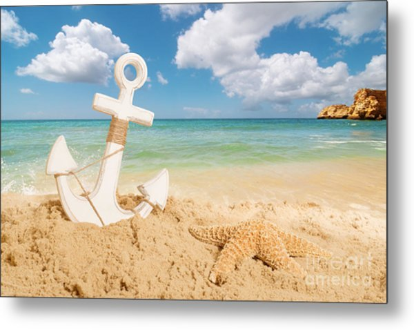 Anchor On The Beach Metal Print