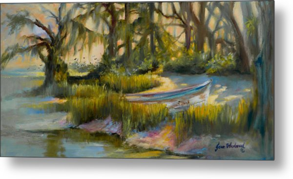 Anchored In The Marsh Metal Print by Jane Woodward
