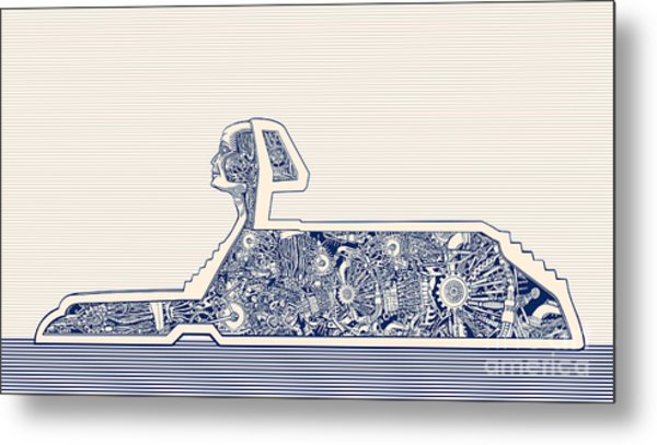 Ancient Egypt Sphinx And Science Metal Print