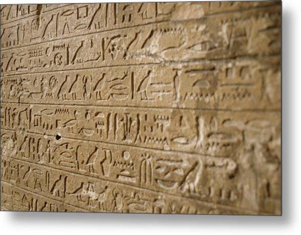 Ancient Egyptian Hieroglyphs Metal Print