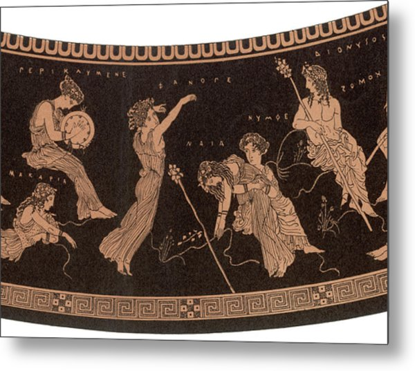 Ancient Greece A Female Dancer Metal Print by Mary Evans Picture Library