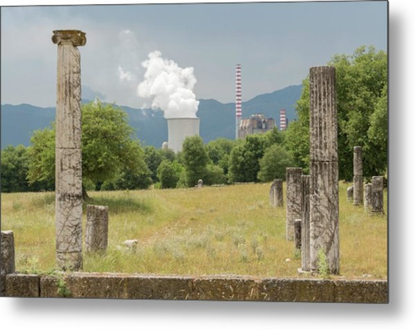 Ancient Megalopolis And Coal Powerplant. Metal Print by David Parker/science Photo Library