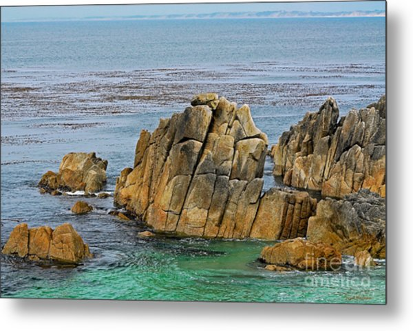 Ancient Rocks At Pacific Grove Metal Print