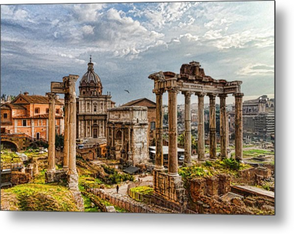 Ancient Roman Forum Ruins - Impressions Of Rome Metal Print