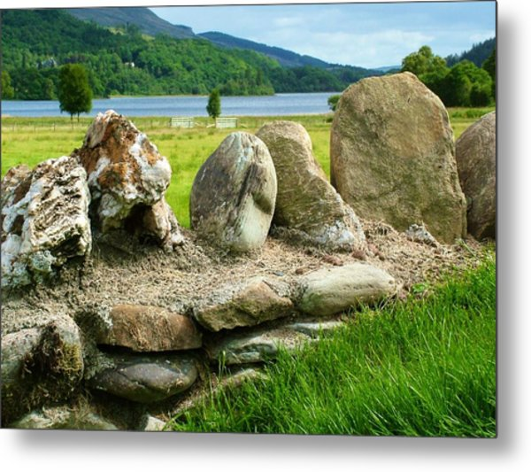 Ancient Stone Wall At Loch Achray Metal Print