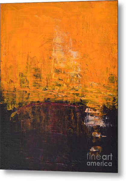 Ancient Wisdom Orange Brown Abstract By Chakramoon Metal Print by Belinda Capol
