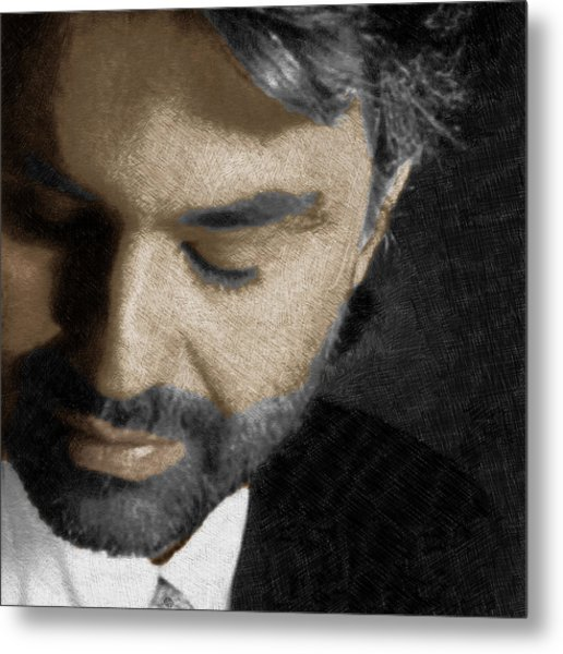 Andrea Bocelli And Square Metal Print