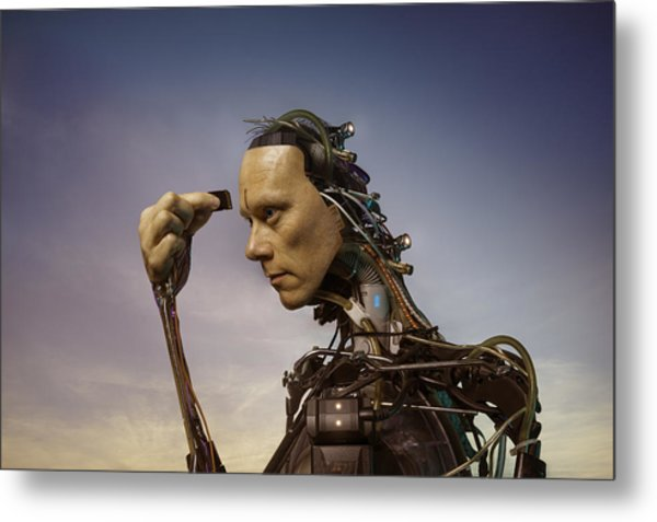Android Robot Replacing Memory Card Metal Print by Peter Sherrard