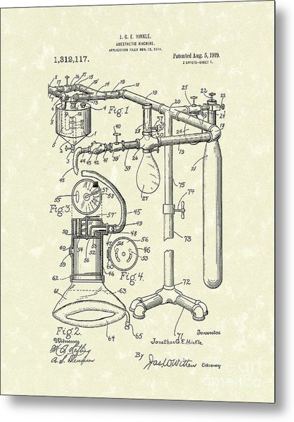 Anesthetic Machine 1919 Patent Art Metal Print