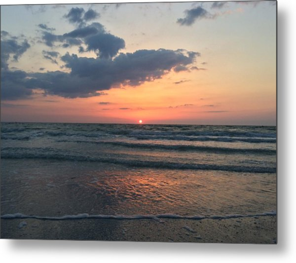 Angel Dolphin Sunset Metal Print